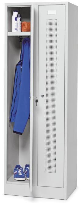 Garderoben-Stahlspind SYSTEM SP1 mit Sockel Lichtgrau RAL 7035 | Drehriegelverschluss | 2 Stück