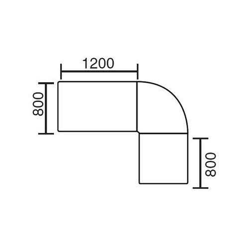 Winkelkombination BASIC MULTI M Lichtgrau | 2000 mm | 1600 mm | rund | Anthrazit RAL 7021