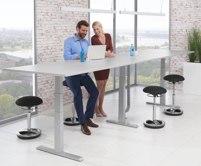 XXL Sitz-/Stehbesprechungstisch, Rechteck - höhenverstellbar