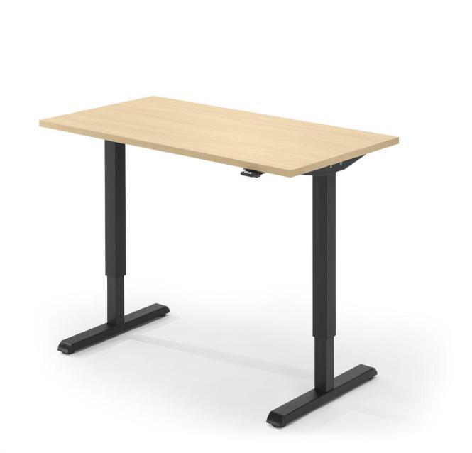 Sitz-/Stehtisch MULTI M Ahorndekor   1600 mm   Schwarz