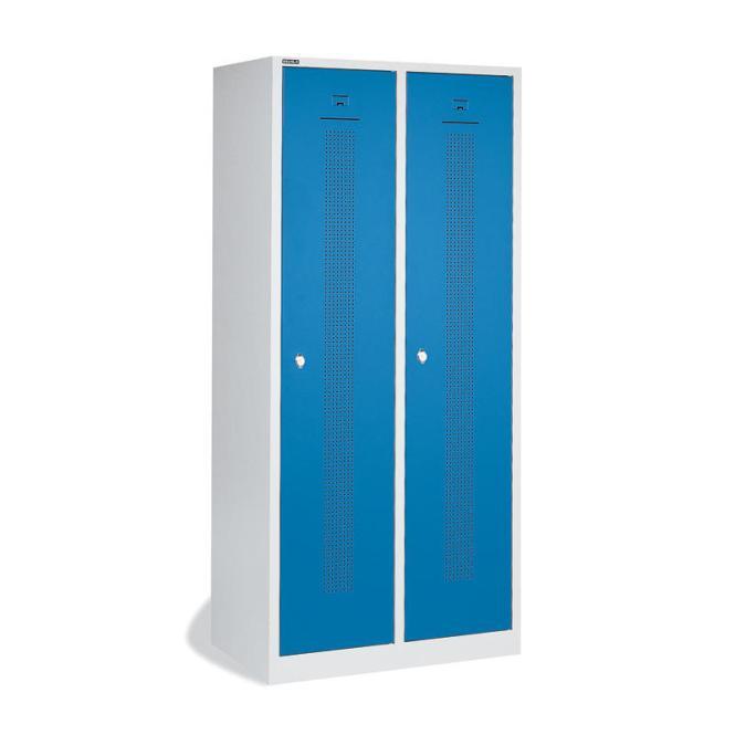 Garderoben-Stahlspind SP1 mit Sockel Himmelblau RAL 5015 | Zylinderschloss | 2 Stück