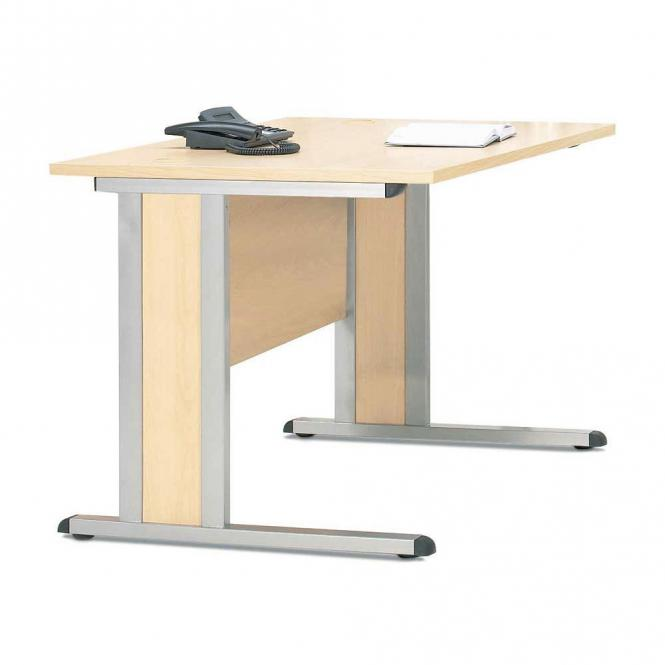 Schreibtisch Basic MULTI M Ahorndekor | 1600 mm | Alusilber RAL 9006 | Rechteck