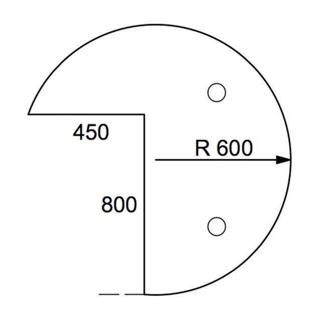 Anbauplatte 3/4-Kreis PROFI Weiß | Stützfuß rund | Anbauplatte Dreiviertelkreis