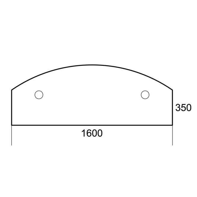 Anbauplatte 1600 PROFI Buchedekor | Stützfuß rund | Anbauplatte zur Montage an Schreibtischlängskante