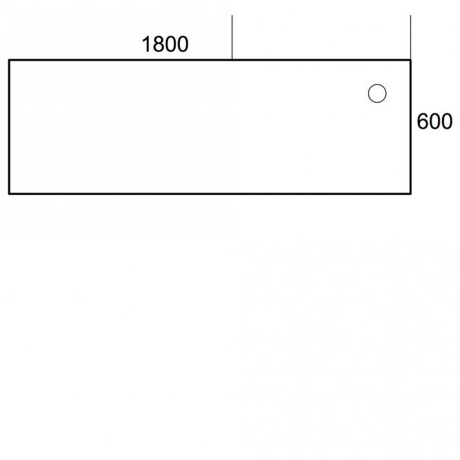 Anbauplatte Rechteck 1800 PROFI Weiß | T-Fuß