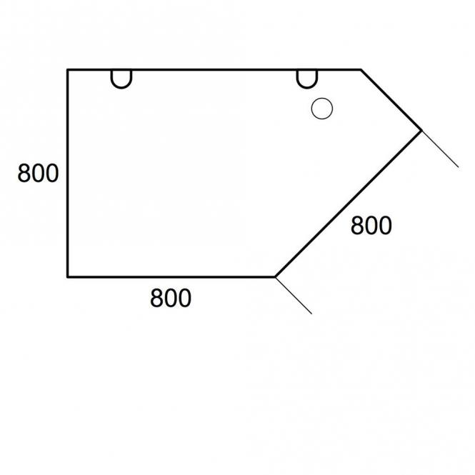 Aanbouwblad trapezium PROFI wit | C-poot | trapezium links