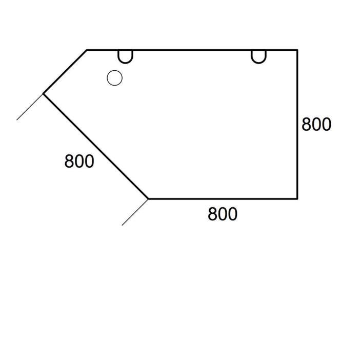 Anbauplatte Trapez PROFI Lichtgrau | C-Fuß | Trapez rechts