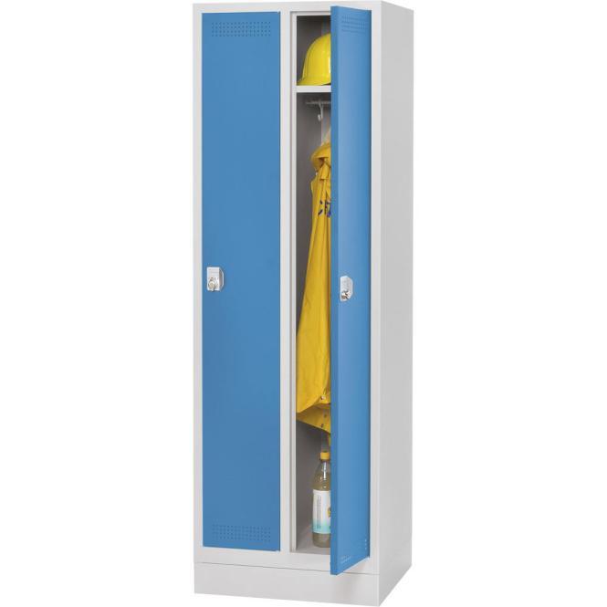 Garderoben-Stahlspind SP PROFI SYSTEM mit Sockel Lichtblau RAL 5012 | 300 mm | 2 Stück | Drehriegelverschluss