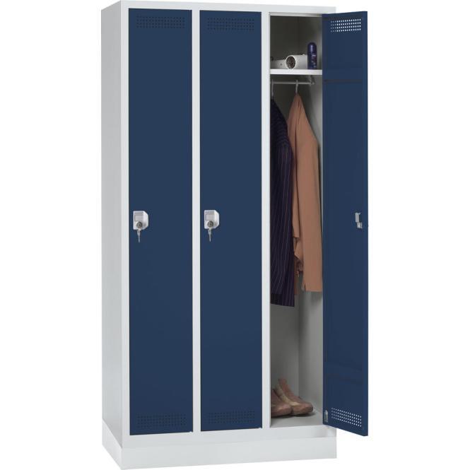 Garderoben-Stahlspind SP PROFI SYSTEM mit Sockel Stahlblau RAL 5011 | 300 mm | 3 Stück | Zylinderschloss