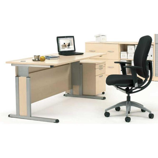 Schreibtisch COMFORT MULTI M Ahorndekor   1600 mm   Alusilber RAL 9006