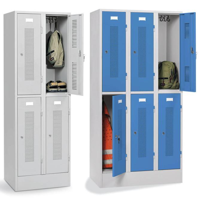 Doppelstöckige Garderoben-Stahlspinde mit Sockel