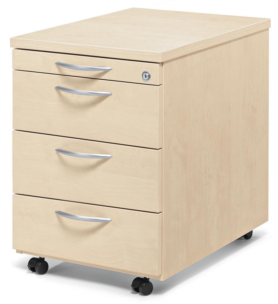 rollcontainer multi m ahorndekor 800 mm mit schubladen b rom bel und betriebseinrichtung. Black Bedroom Furniture Sets. Home Design Ideas