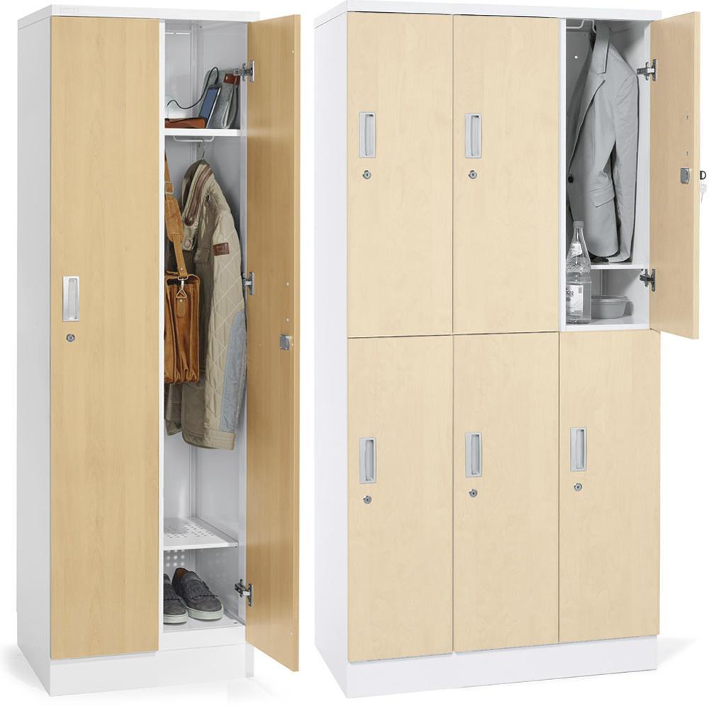 Garderobenschränke Holz/Stahl | Büromöbel und Betriebseinrichtung